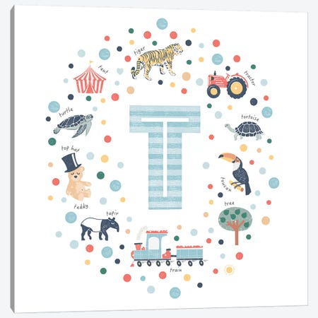 Illustrated Letter T Blue Canvas Print #PPX172} by PaperPaintPixels Canvas Artwork