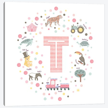 Illustrated Letter T Pink Canvas Print #PPX173} by PaperPaintPixels Canvas Art