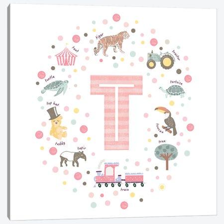 Illustrated Letter T Pink Canvas Print #PPX173} by PaperPaintPixels Canvas Art