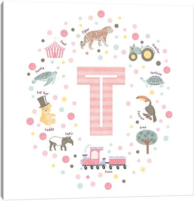 Illustrated Letter T Pink Canvas Art Print