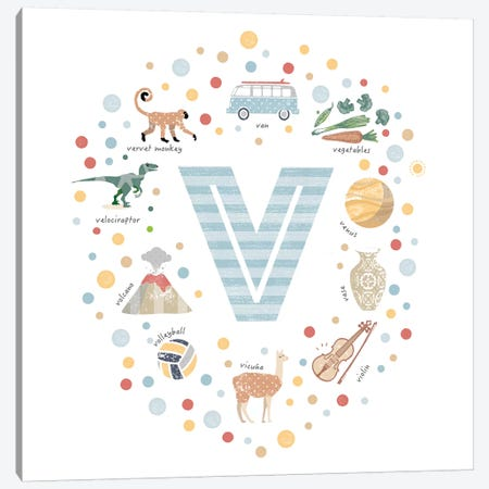 Illustrated Letter V Blue Canvas Print #PPX174} by PaperPaintPixels Canvas Print