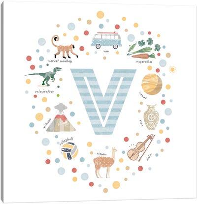 Illustrated Letter V Blue Canvas Art Print
