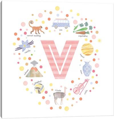 Illustrated Letter V Pink Canvas Art Print