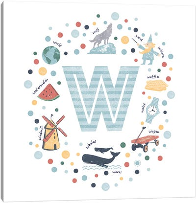 Illustrated Letter W Blue Canvas Art Print