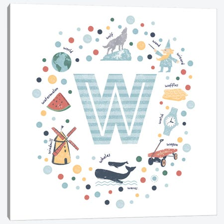 Illustrated Letter W Blue Canvas Print #PPX176} by PaperPaintPixels Canvas Art Print