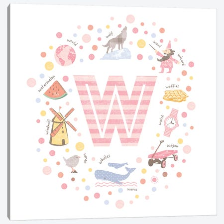 Illustrated Letter W Pink Canvas Print #PPX177} by PaperPaintPixels Canvas Print