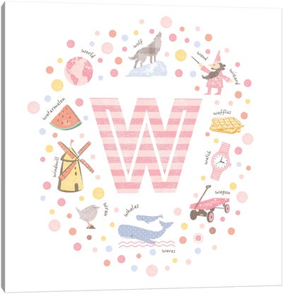 Illustrated Letter W Pink Canvas Art Print