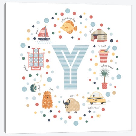 Illustrated Letter Y Blue Canvas Print #PPX178} by PaperPaintPixels Canvas Art