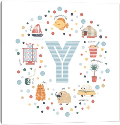 Illustrated Letter Y Blue Canvas Art Print