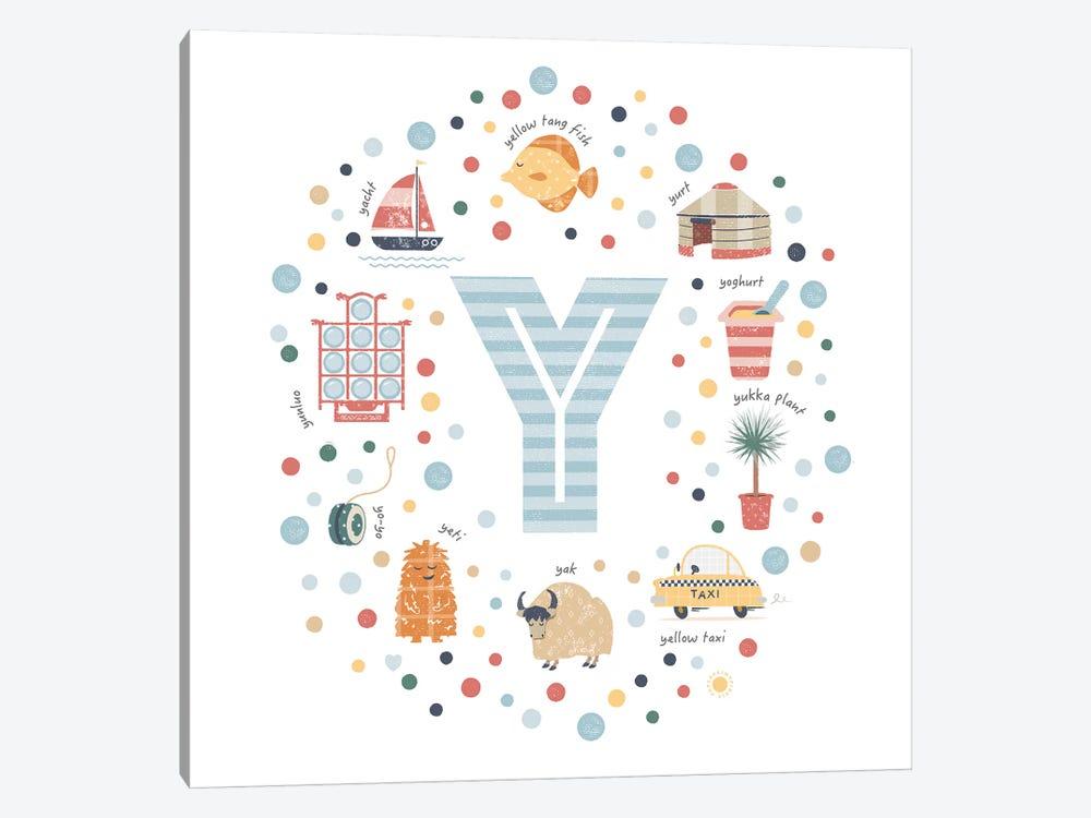 Illustrated Letter Y Blue by PaperPaintPixels 1-piece Art Print