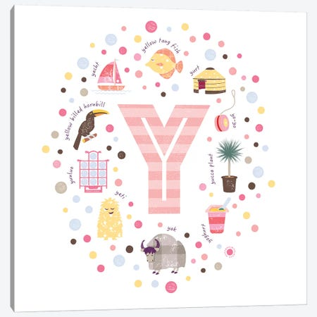 Illustrated Letter Y Pink Canvas Print #PPX179} by PaperPaintPixels Canvas Wall Art