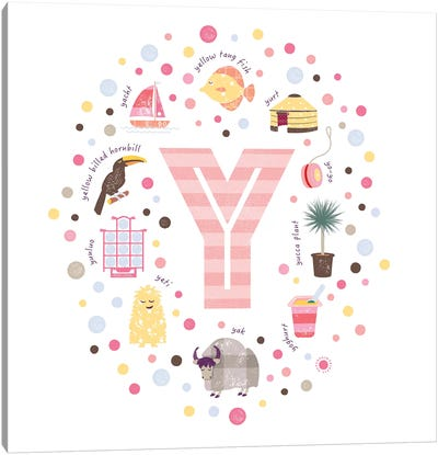 Illustrated Letter Y Pink Canvas Art Print