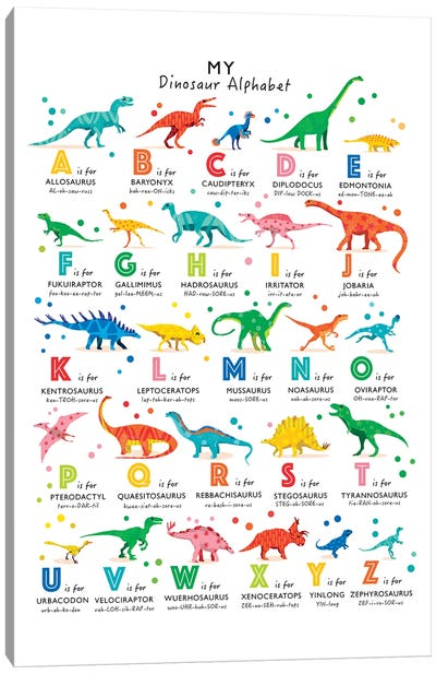 Bright Dinosaur Alphabet Canvas Art Print