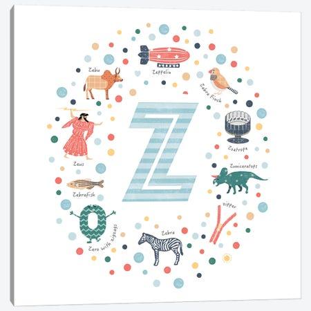 Illustrated Letter Z Blue Canvas Print #PPX180} by PaperPaintPixels Art Print