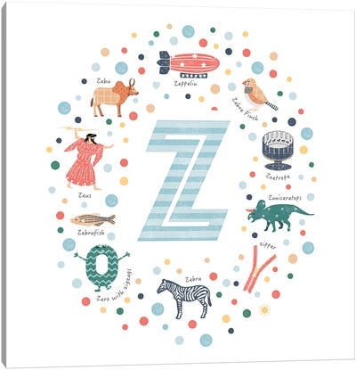 Illustrated Letter Z Blue Canvas Art Print