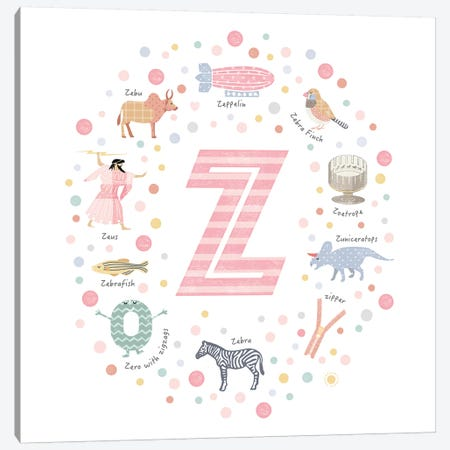 Illustrated Letter Z Pink Canvas Print #PPX181} by PaperPaintPixels Canvas Print