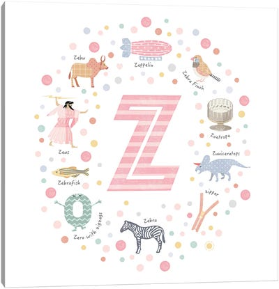Illustrated Letter Z Pink Canvas Art Print