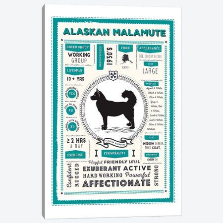 Alaskan Malamute Infographic Blue Canvas Print #PPX182} by PaperPaintPixels Art Print