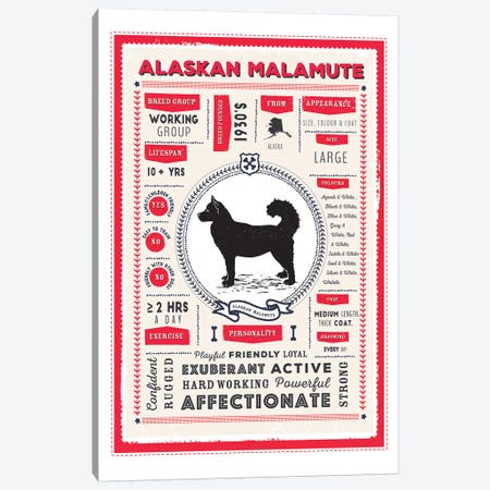 Alaskan Malamute Infographic Red Canvas Print #PPX183} by PaperPaintPixels Canvas Print