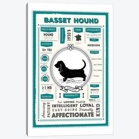 Basset Hound Infographic Blue Canvas Print #PPX185} by PaperPaintPixels Canvas Wall Art