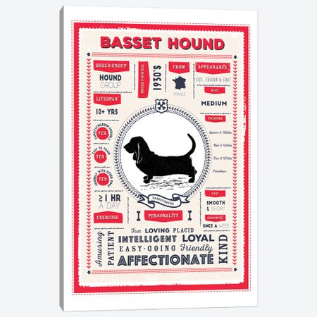 Basset Hound Infographic Red Canvas Print #PPX186} by PaperPaintPixels Canvas Artwork