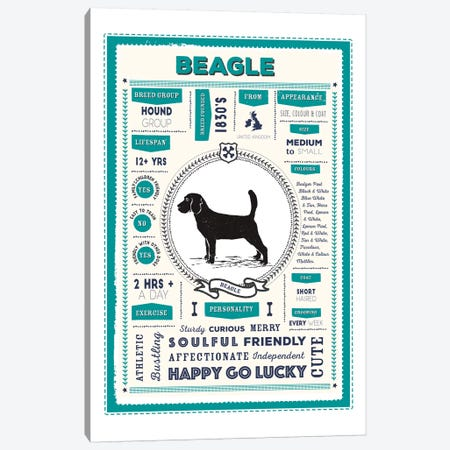 Beagle Infographic Blue Canvas Print #PPX187} by PaperPaintPixels Canvas Artwork