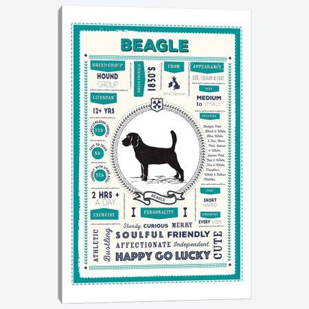 Beagle Infographic Blue Canvas Print #PPX187} by PaperPaintPixels Canvas Artwork