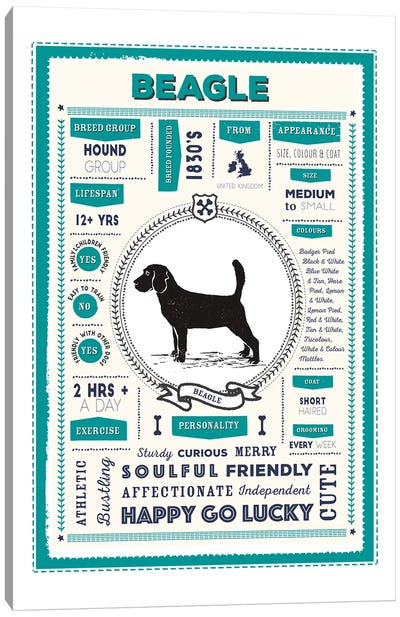 Beagle Infographic Blue Canvas Art Print