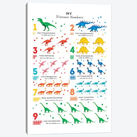 Bright Dinosaur Numbers Canvas Print #PPX18} by PaperPaintPixels Canvas Art Print