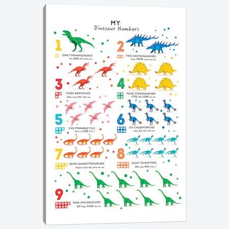 Bright Dinosaur Numbers Canvas Print #PPX18} by PaperPaintPixels Canvas Art Print