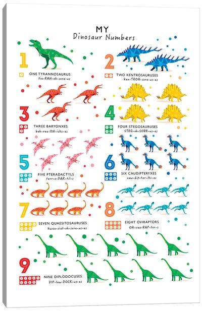 Bright Dinosaur Numbers Canvas Art Print