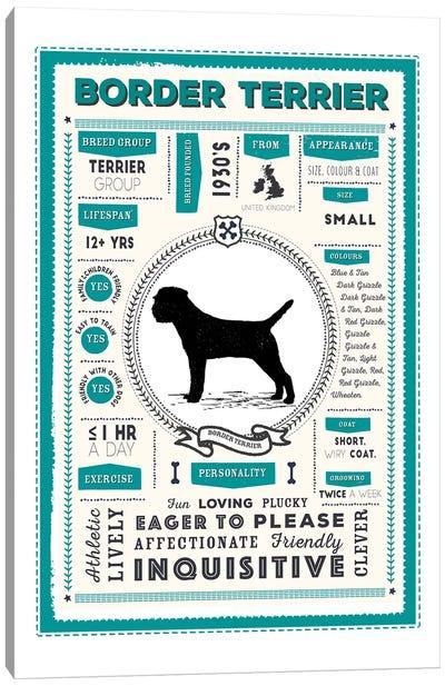 Border Terrier Infographic Blue Canvas Art Print