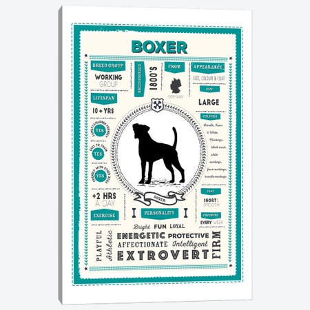 Boxer Infographic Blue Canvas Print #PPX197} by PaperPaintPixels Canvas Print
