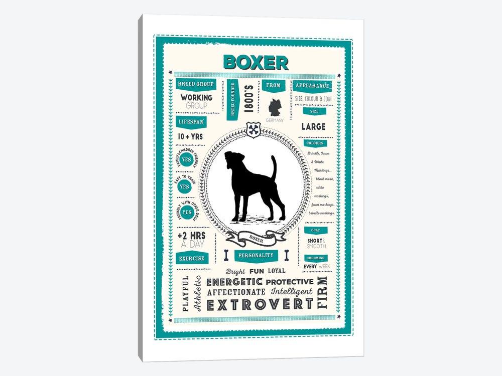 Boxer Infographic Blue by PaperPaintPixels 1-piece Canvas Art