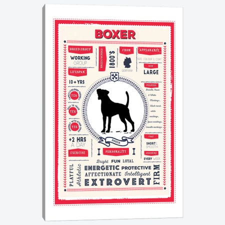 Boxer Infographic Red Canvas Print #PPX198} by PaperPaintPixels Canvas Wall Art