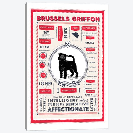 Brussels Griffon Infographic Red Canvas Print #PPX200} by PaperPaintPixels Canvas Wall Art