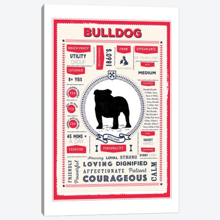 Bulldog Infographic Red Canvas Print #PPX201} by PaperPaintPixels Canvas Artwork