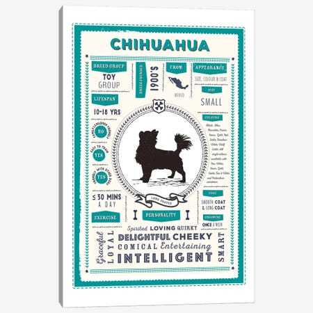 Chihuahua - Long Coated Infographic Blue 3-Piece Canvas #PPX209} by PaperPaintPixels Canvas Art