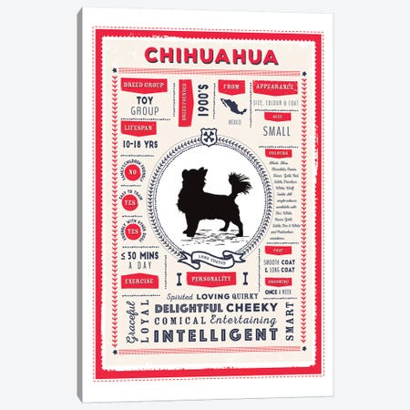 Chihuahua - Long Coated Infographic Red 3-Piece Canvas #PPX210} by PaperPaintPixels Canvas Art Print