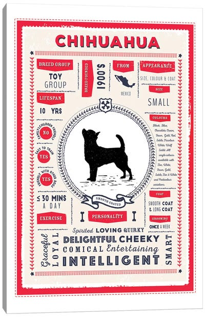 Chihuahua - Smooth Coated Infographic Red Canvas Art Print