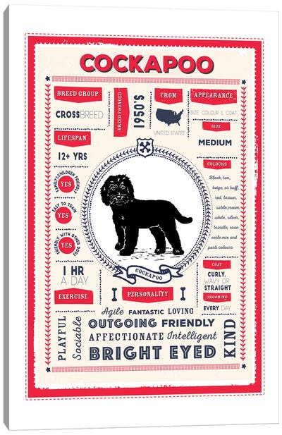 Cockapoo Infographic Red Canvas Art Print