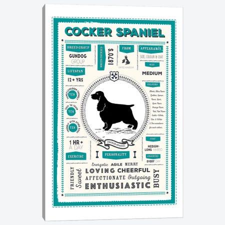 Cocker Spaniel Infographic Blue Canvas Print #PPX213} by PaperPaintPixels Canvas Art Print