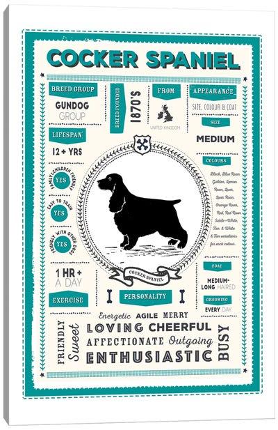 Cocker Spaniel Infographic Blue Canvas Art Print
