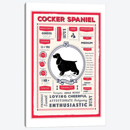 Cocker Spaniel Infographic Red Canvas Print #PPX214} by PaperPaintPixels Canvas Art
