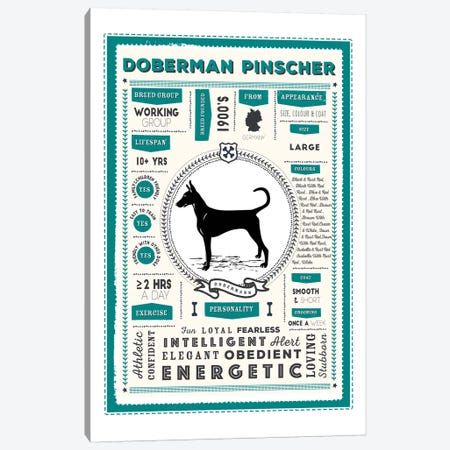 Doberman Pinscher Infographic Blue Canvas Print #PPX217} by PaperPaintPixels Canvas Wall Art