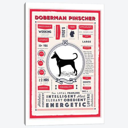 Doberman Pinscher Infographic Red Canvas Print #PPX218} by PaperPaintPixels Canvas Art Print
