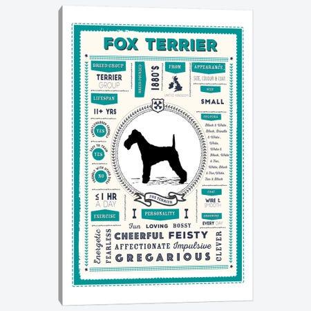 Fox Terrier Infographic Blue Canvas Print #PPX220} by PaperPaintPixels Canvas Art