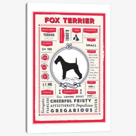 Fox Terrier Infographic Red Canvas Print #PPX221} by PaperPaintPixels Canvas Artwork