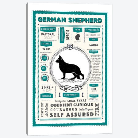 German Shepherd Infographic Blue Canvas Print #PPX224} by PaperPaintPixels Canvas Print
