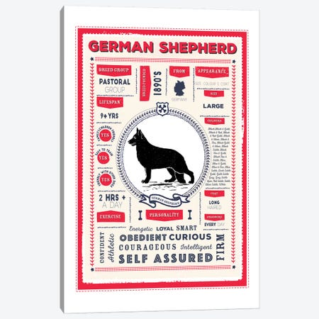 German Shepherd Infographic Red Canvas Print #PPX225} by PaperPaintPixels Canvas Art Print
